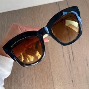 Oversized square blue and mirrored gold sunglasses
